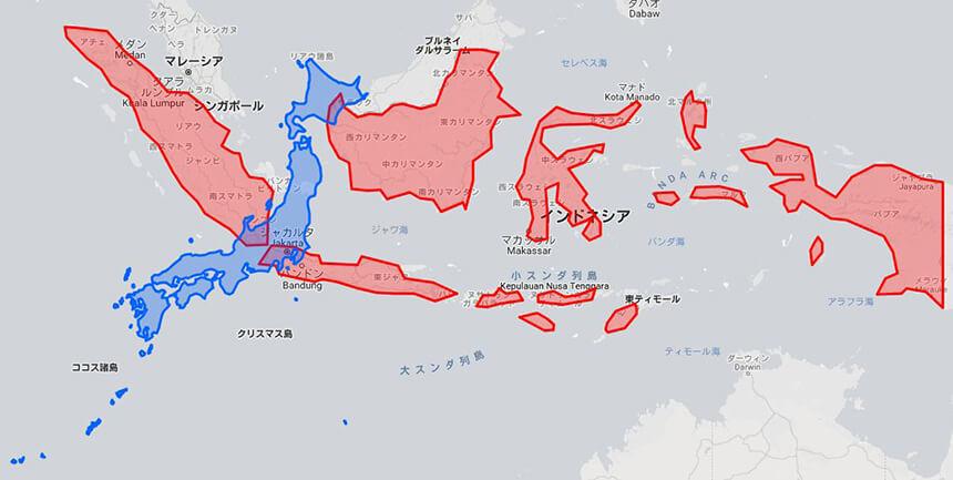 日本とインドネシアの地図を比較してみた。インドネシアは意外と大きい ...